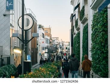 Shibuya Harajuku, Tokyo / Japan - January - 1st - 2019:  famous shopping area close to JR harajuku - shibuya train stations and meiji shrine in new year day