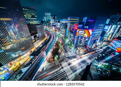 SHIBUYA, JAPAN - Dec.06 2018 : panoramic urban city aerial night view with crosstown traffic in ginza, tokyo, Japan