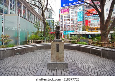Shibuya, Japan - March 11, 2016 : Hachiko dog statue at Shibuya station. It is a meeting point and landmark of shibuya.