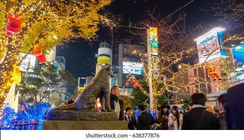 Shibuya, Japan - March 11, 2017 - Hachiko dog statue at Shibuya station. It is a meeting point and landmark of shibuya