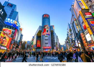 Shibuya, Tokyo - Jan 07, 2019 : Shibuya shopping area, the famous place in Tokyo, Japan.