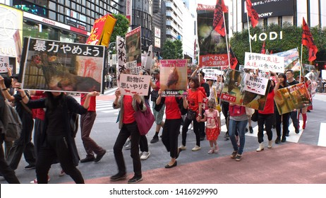 SHIBUYA, TOKYO, JAPAN - 1 JUNE 2019 : VEGAN PROTEST in Tokyo.  Vegan protesters and animal rights activists marched in Shibuya and Harajuku area.