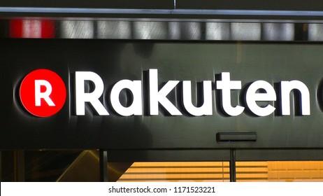 SHIBUYA,  TOKYO,  JAPAN - CIRCA AUGUST 2018 : Logo of RAKUTEN company.  RAKUTEN is a Japanese electronic commerce and internet company based in Tokyo.