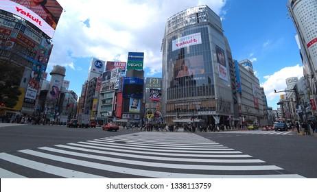 SHIBUYA,  TOKYO,  JAPAN - CIRCA MARCH 2019 : Scenery around SHIBUYA big scramble crossing area.  Wide view shot.