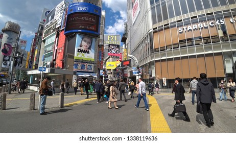 SHIBUYA,  TOKYO,  JAPAN - CIRCA MARCH 2019 : Scenery of entrance of SHIBUYA CENTER GAI street around SHIBUYA big scramble crossing area.  Wide view shot.