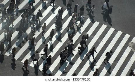 SHIBUYA,  TOKYO,  JAPAN - CIRCA MARCH 2019 : Aerial view around SHIBUYA scramble crossing.  Close up shot of pedestrians crossing.