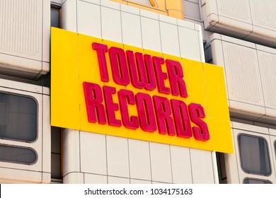 Shibuya, Tokyo, Japan - February 7, 2018: Tower Records Shibuya in Japan: Tower Records was a retail music chain based in Sacramento, California, USA.