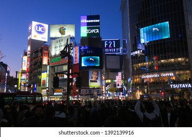 SHIBUYA, TOKYO / JAPAN - January 15, 2019 : Shibuya crossing street in the evening. Shibuya is the most popular tourist spot among local and tourist in Tokyo.