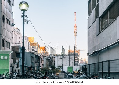 Shibuya, Tokyo / Japan - January - 1st - 2019:  bicycle parking space at a street close to shibuya district, the famous shopping area in new year day
