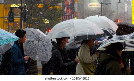 SHIBUYA,  TOKYO,  JAPAN - JANUARY 22, 2018 : Snowing at SHIBUYA scramble crossing.