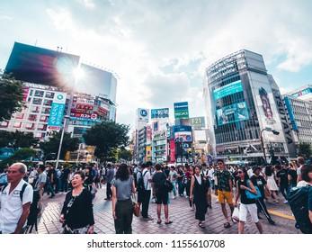 SHIBUYA TOKYO JAPAN - JULY 29 , 2018 : Pedestrians people crosswalk around Shibuya district area in Tokyo, Japan