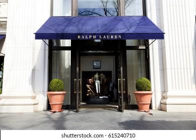 Shibuya, Tokyo, Japan - March 11, 2017: RALPH LAUREN: RALPH LAUREN Omotesando shop in Shibuya ward in Tokyo. RALPH LAUREN is an American fashion brand established by Ralph Lauren.