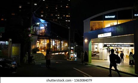 SHIBUYA, TOKYO, JAPAN - March 21, 2019:  Tokyu Toyoko Line's Daikanyama train station entrance at night time.