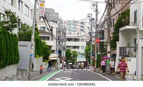 SHIBUYA, TOKYO, JAPAN - March 21, 2019:  Slope around the area of Daikanyama Station. This district is famous for being one of Tokyo's trendiest neighborhoods.