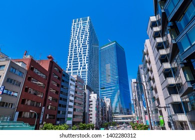 SHIBUYA, TOKYO / JAPAN - MAY 8 2019 : A view of the city around Shibuya Station. The development of the building changed the scenery in front of the station. Two buildings are new landmarks.