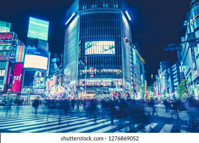 Shibuya, Tokyo, Japan - November 17, 2018: Pedestrians crosswalk at Shibuya district in Tokyo, Japan. Shibuya Crossing is one of the busiest crosswalks in the world