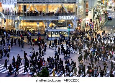 Shibuya, Tokyo, Japan - October 25, 2017: Shibuya Crossing: Pedestrian scramble in Shibuya, Tokyo, Japan.