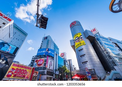 """SHIBUYA, TOKYO / JAPAN - OCTOBER 6 2018 : The scenery of """"SHIBUYA 109"""" in Shibuya. It is a famous landmark in Shibuya, familiar for a long time as a place of fashion."""