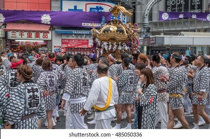 SHIBUYA, TOKYO, JAPAN - SEPTEMBER 18TH, 2016. Participants at the Shibuya Mukoshi (Portable Shrine) Parade. Held annually, it attracts many tourists and locals alike.