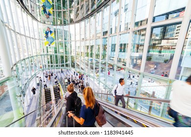 Shibuya, Tokyo, Japan-September 18, 2018: Inside of SHIBUYA STREAM: SHIBUYA STREAM has opened in September 13, 2018. The building includes restaurants, shops, company offices and hotel.