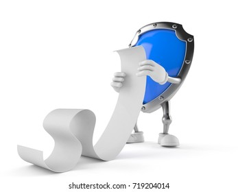 Shield character reading long list on white background. 3d illustration