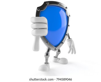 Shield character with thumb down isolated on white background. 3d illustration