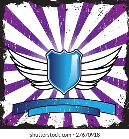 Shield design with wings on an interesting background with grunge