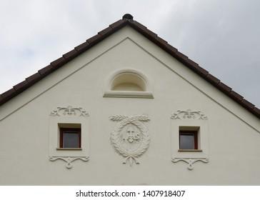 shield of historical house, village farm, southern Bohemia, Czech Republic