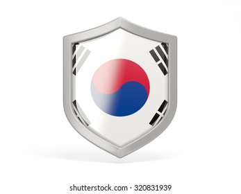 Shield icon with flag of korea south isolated on white