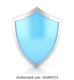 shield icon on white. 3d rendering.