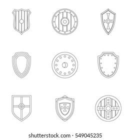 Shield icons set. Outline illustration of 9 shield  icons for web