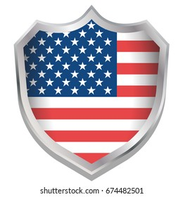 A Shield Illustration with the flag for the country of United States of America