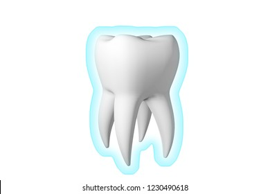 Shield protecting teeth from food germs. 3d render