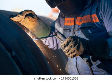 Shielded metal arc welding, manual metal arc weld, flux shielded arc weld or stick welding, is a manual arc welding process that uses a consumable electrode covered with a flux to lay the weld.