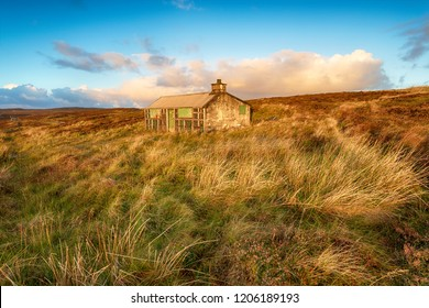 A shieling or shepherds hut on peat moorland near Stornoway on the Isle of Lewis in the Outer Hebrides