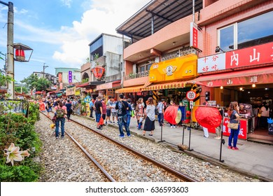 SHIFEN, TAIWAN - APRIL 30, 2017: The Shifen Old Street section of Pingxi District has become one of the famous tourist stops along this line.
