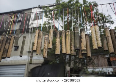 Shifen, Taiwan - Jun 7: The bamboo with blessing words are hung at the Shifen Old Street in Shifen, Taiwan on June 7 2015.