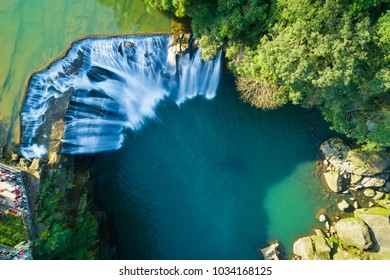 Shifen Waterfall Aerial View - Famous nature landscape of Taiwan, shot in Pingxi District, New Taipei, Taiwan.
