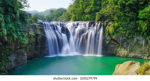 Shifen Waterfall - Famous nature landscape of Taiwan, shot in Pingxi District, New Taipei, Taiwan.