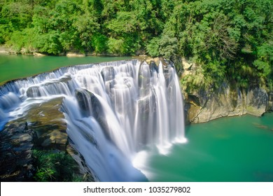 Shifen Waterfall - Famous nature landscape of Taiwan, shot in Pingxi District, New Taipei, Taiwan.