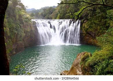Shifen Waterfall, a waterfall located in Pingxi District, New Taipei City,