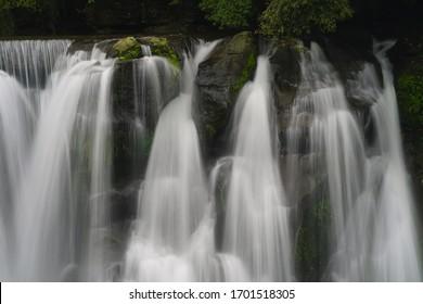 Shifen waterfall in slow flowing motion