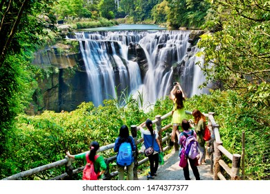 Shifen waterfall view. The waterfall is located near Shifen old town and the water connects to keelung river. Taiwan.