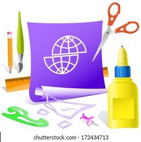 Shift globe. Paper template. Raster illustration.