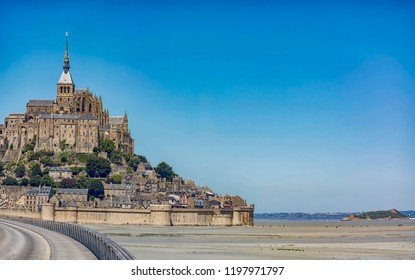The shifting sands of the ocean floor at low tide on the way to Mont Saint Michel. Normandy. France