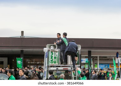 SHIGA , JAPAN - DECEMBER 5: Japanese Prime Minister Shinzo Abe during his canvassing on December 5 , 2012 in Shiga, Japan.