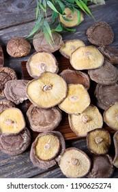 Shiitake mushroom on wooden Background