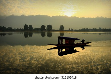 Shikara Boat on Nigeen Lake in Kashmir