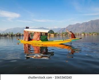 shikara boat ride on dal lake kashmir india