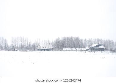 Shikisai no Ski Snow land panorama in Hokkaido in the winter during the falling snow